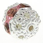 """Angel Malone 10 x 10mm Brass """"A"""" Grade PINK Crystal Rhinestone Nice Bright Silver Round Spacers Beads, Loads more colours available..."""