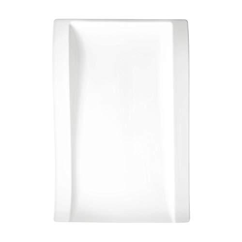 Villeroy & Boch New Wave Flach Teller, Eckig, Porzellan, Weiß, Gourmetteller 37 x 25 cm, 4