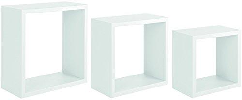 Sanitec incubo mensole da parete, pvc, bianco, 15.5x35.0x35.0 cm 3 unità