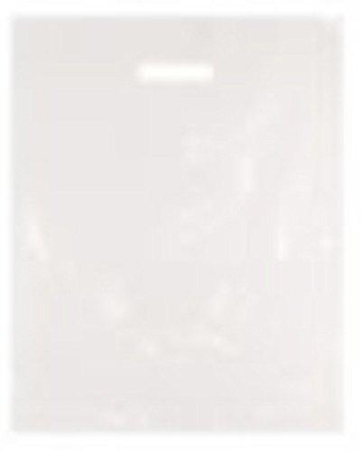 50 stabile Plastik-Tragetaschen aus Polyethylen-Kunststoff mit vorgestanztem Griff, Einkaufstasche / Geschenktüte für Boutique / Party, groß, 38,1x 45,7x 7,6cm, weiß