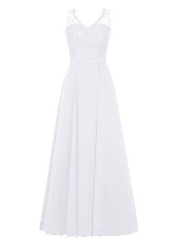 Dresstells, Robe de soirée, robe longue de cérémonie, robe longueur ras du sol de demoiselle d'honneur Blanc