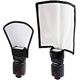 Universal Blitz Diffusor Set, Mini Blitz Reflektor Silber / Weiß, Biegbarer Positionierbarer Blitzleuchten Diffusor Softbox für Nikon...