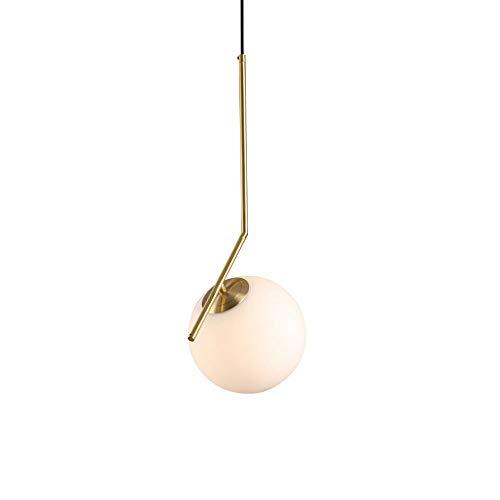 Rishx Moderne LED Metall Pendelleuchten Schmiedeeisen Glas Runde Kugel Messingstab Hängelampe für Wohnzimmer Cafe Küche Nordic Beleuchtung (Größe : S)