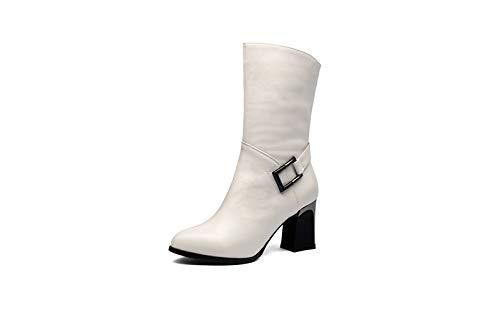 Buckle Mid High Boot - MENGLTX High Heels Sandalen Mode Frauen