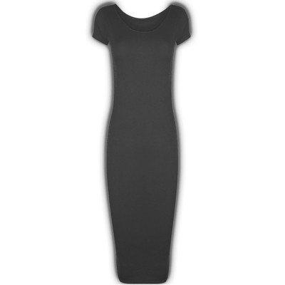 Da donna famosa maniche ad aletta da Donna Crew rotondo lunghe e scollo Bodycon Midi vestito