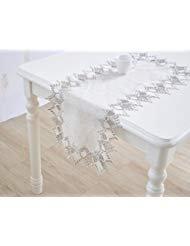 Jasmin Stickerei Spitze Contracted und Modernes Baumwolle und Leinen Tischläufer Tischdecke Tee Tuch und Dresser Schals Flora 16*87 inch Grau - Jasmin-baumwoll-leinen