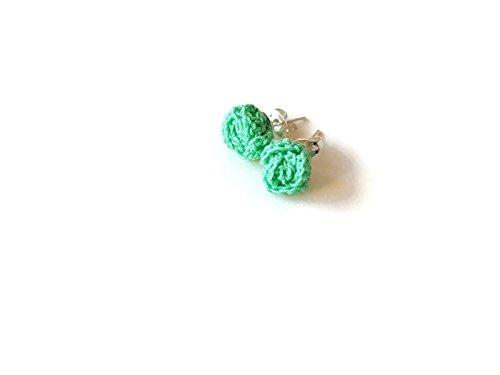 Tiffany Natur Rose (Aquamarin Ohrringe grün Tiffany Rosen Ohrstecker Schmuck Blume Geschenk für ihre häkeln Natur)