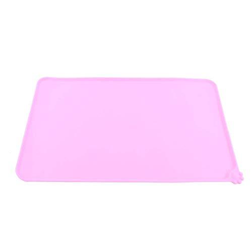 Tovaglietta per Ciotole di Cibo Silicone Tappetino Impermeabile Antiscivolo Quadrato per Cani Gatti, 47,7 x 30cm ( Colore : Rosa )