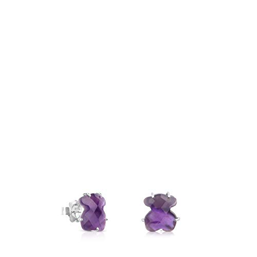 18 - Pendientes BRIGHT amatista hidrotermal, base nacar
