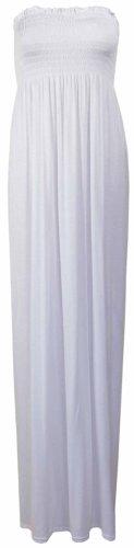 Purple Hanger - Robe Longue Bustier Sans Manche Longue Bandeau Jersey Elastique Été Blanc