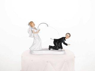 Unbekannt Brautpaar, Hochzeitspaar | Tortenaufsatz, Tortenfigur, Dekofigur | Brautpaar Geangelt Angel | 13 cm