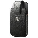 Holster Leather Swivel Holster for Rim BlackBerry Q10 - Retail Packaging - Black