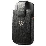 Schutzhülle für BlackBerry Q10, Leder, drehbar, Schwarz (Charging Case Für Blackberry Q10)