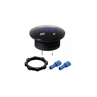 Mini Wasserdichte Voltmeter mit LED Digitalanzeige, Spannung Meter DC 12V-24V Universal für Auto / Motorrad / LKW - Blau