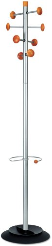 Alba Timby Hat and Coat Stand Tubular Steel with Umbrella Holder and 8 Pegs H1750mm Ref PMSAT WM