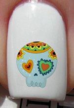 Crâne bleu ciel bonbon - Stickers pour ongles YRNAILS