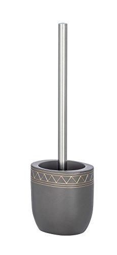 Wenko Garnitur Etrusk WC-Bürstenhalter, Polyresin, Grau, 9.5 x 11.5 x 36.5 cm