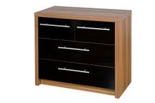 Kensington 2 + 2 Chest of Drawers - Black /Walnut Finish