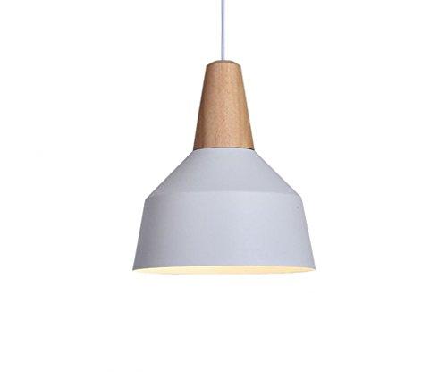 ZLL Wohnzimmer-Deckenlampe, 60W Edison beleuchtet Moderne industrielle hängende Lampen-hängende Leuchter-Schatten-Licht E26 / E27 gemalte Ende-Feste Massivholz-Reihe Einzelner Kopf (weiß), Haushalts- -