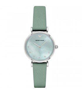 Emporio Armani Reloj de cuarzo para mujer con Madre de Pearl Esfera Analógica Pantalla y verde pulsera de piel ar1959