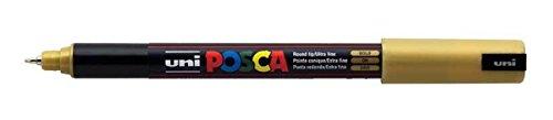 Uni Posca PC-1MR Goldfarbe Paint Marker Pens Ultra fein 0,7 mm Schreibspitze Feder Kaliber schreibt auf jedem Untergrund Glas Metall Kunststoff Gewebeband (1 Stück) Schmuckstein Holz