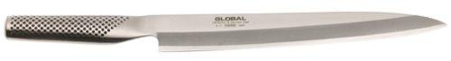 Cuchillo global G-11/R, Yanagiba Sashimi de 25 cms de longitud de hoja, es un cuchillo afilado por un solo lado (direstro), especialmente diseñado para cortar pescado y carne en forma de filetes finos. Especial para sushi y sashimi.