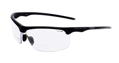 rainbow safety Sonnenbrille mit Lesehilfe Bifokal Sportbrille mit Leseteil für Radler Baseball Laufen Angeln Nachtsicht Schutzbrille Kontrastbrille (PRO BLK-CLR+2.00D)