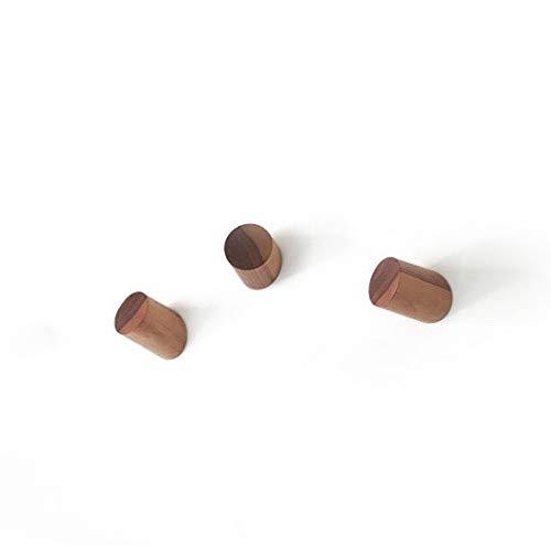 anaan One-Third Diseño Percheros Pared Madera Colgador Abrigos Gancho Pared Pasillo Moderno Decorativo nordico (Juego de 3 Nuez)