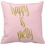 Personalized Inspirational Pillow cover Standard Size 16 x 16 Happy is Pretty Quote Faux Gold Foil Glitter Pink Throw Pillowcase -