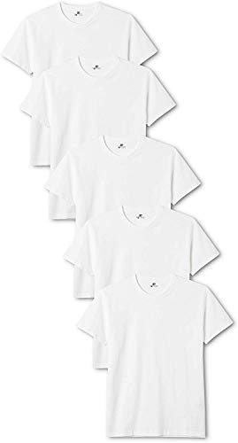 Lower East Herren T-Shirt mit Rundhalsausschnitt, 5er Pack, Weiß(Weiß), Large