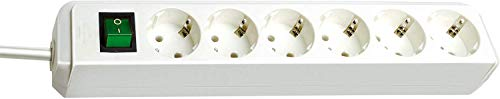 Brennenstuhl Eco-Line 6-fach Steckdosenleiste (Steckerleiste mit Kindersicherung, Schalter und 1,5 m Kabel) weiß