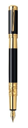 Waterman S0898630 Elegance Füllfederhalter (feine Feder, Ausführung schwarz mit Goldrand) Tinte in blau