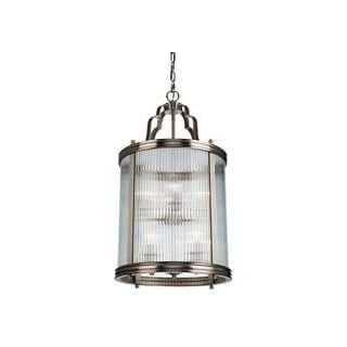 The Bankroft Collection of lanterns is plated in brushed nickel and features ribbed glassware. Large lantern