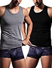 EDTara Men's Elastic Casual Sleepwear Lounge Cotton Sleeveless Slim Vest Tank Top Shirt Pajama Black Asia 2XL