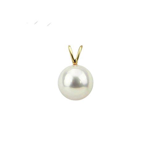 akwaya Femme 14K Pendentif Perle Blanc, AAA, pendentif