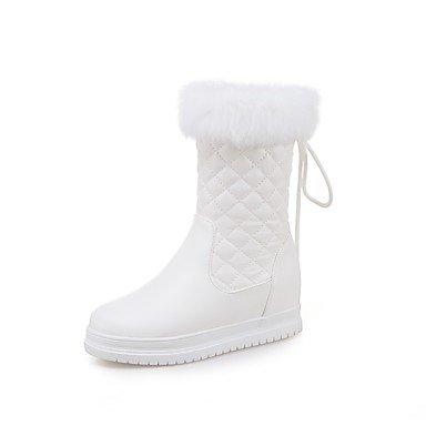 RTRY Scarpe donna pu Autunno Inverno Comfort stivali tacco piatto Round Toe stivali Mid-Calf Lace-Up per ufficio Outdoor & carriera arrossendo NERO ROSA US5 / EU35 / UK3 / CN34