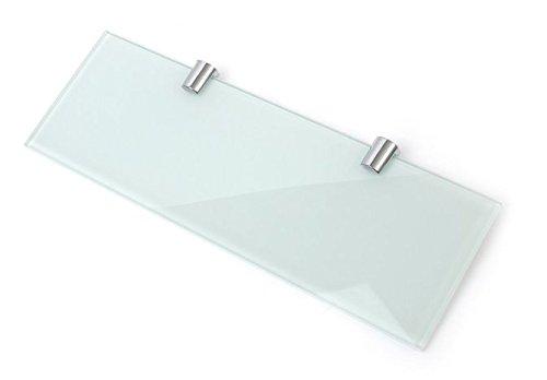 Blanc 6mm étagère en verre avec deux supports de finition chromée 300mm x 100mm de sécurité trempé