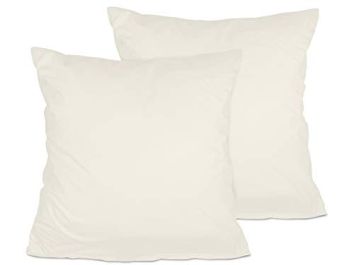 npluseins 2er Pack Kissenbezug oder 1 Set Bettwäsche - Jersey Baumwolle 552.676, 80 x 80 cm, Creme - Premium Pack Bettwäsche-set