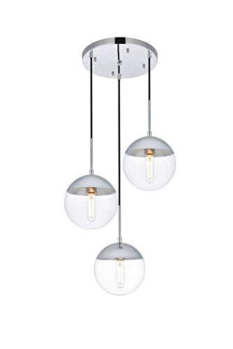 Dst Transparente Glaskugel Pendelleuchte, 3 Licht Moderne Silber Chrom Finish Kronleuchter Hängende Deckenleuchte für Kücheninsel, Bar Oder Esszimmer (Silver, 3 light) (3-licht Pendelleuchte)