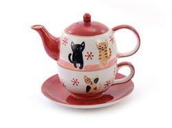 Cha Cult Tea for one Mindra Katze Kätzchen Kitten rot weiß Kinder 400 ml