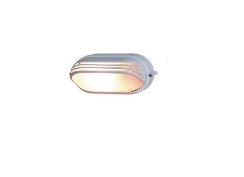 0590056555 Ovalleuchte Aluminium mit Abd., 60 Watt, weiß
