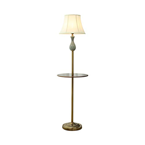 Stehleuchte einfache moderne Tuch Lampenschirm mit Ablage E27 Eisen Wohnzimmer Schlafzimmer...