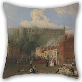 Uloveme 18 X 18 Inches / 45 By 45 Cm Oil Painting George Vincent - A View Of Thames Street, Windsor Pillowcase ,twice Sides Ornament And Gift To Family,indoor,sofa,valentine,dining Room,boys