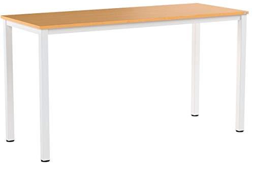Need Computertisch Schreibtisch 138x55cm PC Tisch Bürotisch Arbeitstisch Esstisch für Home Office,Teak & Weiß AC3BW-140-NEW