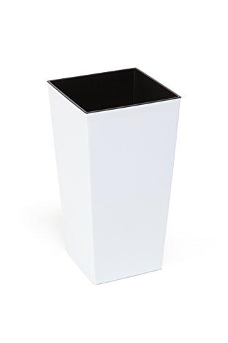 Kreher XXL Design Pflanztopf aus Kunststoff in Hochglanz Weiß mit Herausnehmbaren Einsatz. Maße BxTxH in cm: 40 x 40 x 75,3 cm. 91,5 Liter Volumen!