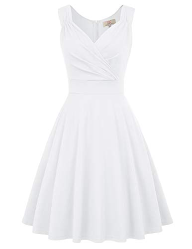 Partykleider weiß Petticoat Kleid ärmellos Festliche Kleider Standesamt Swing Kleid CL698-7 2XL (Weißes Kleid Frauen Party)