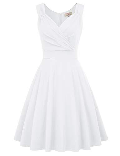 Robe Vintage 50's 60's Style Audrey Hepburn sans Manche Col V Elegant Blanc 2XL CL698-7
