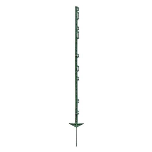 20x piquets de clôture électrique, 125cm, 3 oilletons pour rubans + 6 oilletons pour cordes de clôture, couleur verte, hauteur hors sol: environ 104cm