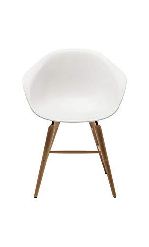 Kare Design Stuhl mit Holzbeinen, Weiß