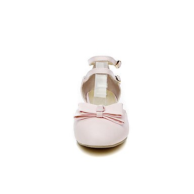 LvYuan Da donna Scarpe Finta pelle Primavera Estate Fiocco Basso Bianco Nero Rosa Piatto blushing pink
